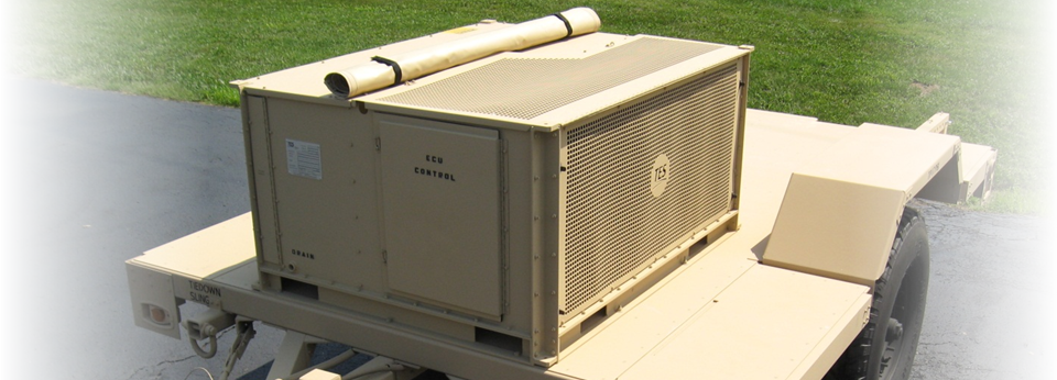 60,000 BTU/Hr continuous run environmental control unit mounted on a HMMWV towable trailer